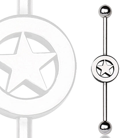 316L Surgical Steel Industrial Barbell with Star Logo