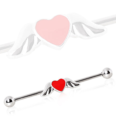316L Industrial Barbell with Winged Heart