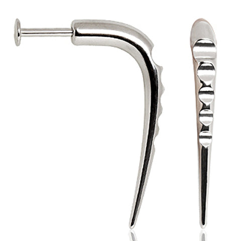 316L Surgical Steel Labret with Grooved Claw