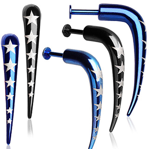 "PVD Plated over 316L Surgical Steel Talon Labret with Stars - 14GA Blue L:5/16"" - Sold as a Pair"
