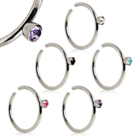 "316L Surgical Steel Nose Hoop Ring with Glass/Gem - 20GA Clear L:5/16"" B:2mm - Sold as a Pair"