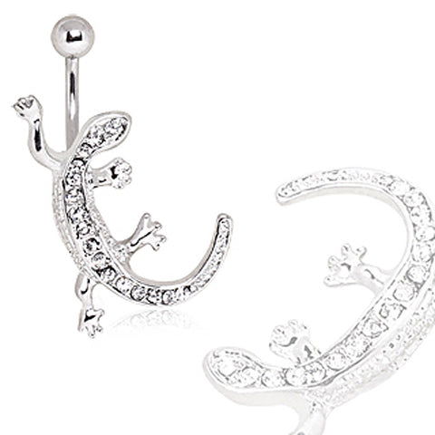 316L Surgical Steel CZ Paved Lizard Navel Ring