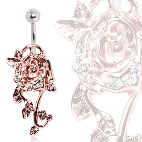 316L Surgical Steel Navel Ring with Glass/Gemmed Rose