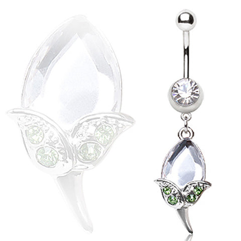 316L Surgical Steel Navel Ring with CZ Tulip Dangle