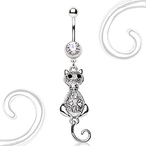 316L Surgical Steel Navel Ring with Cat Dangle