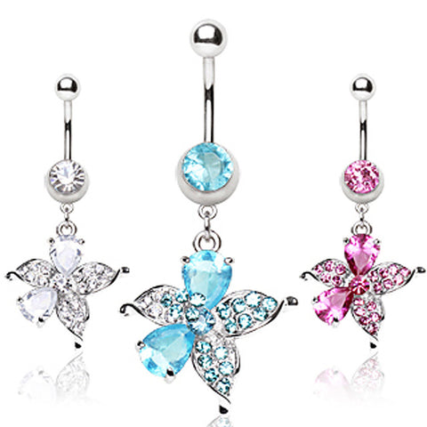 316L Surgical Steel Navel Ring with Hawaiian Flower Shaped Dangle
