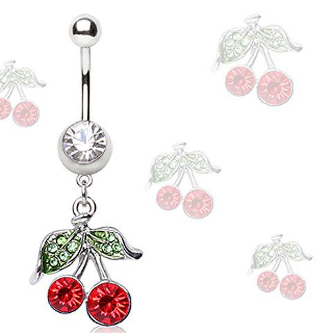 316L Surgical Steel Navel Ring with Cherry Shaped Dangle