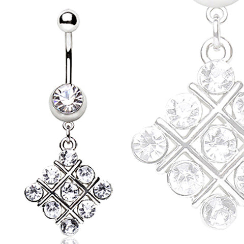 316L Surgical Steel Navel Ring with Cross Puzzle Shaped Glass/Gems Dangle