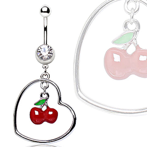 316L Surgical Steel Navel Ring with Cherry in a Heart Dangle
