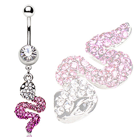 316L Surgical Steel Navel Ring with Two Tone Snake Shaped Dangle