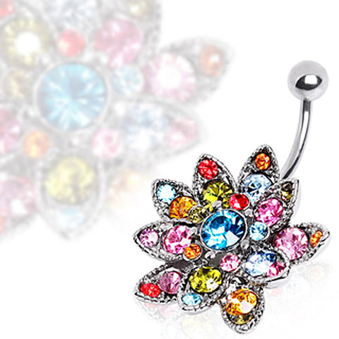 316L Surgical Steel Hinged Navel Ring with Multi Glass/Gem Lotus Flower