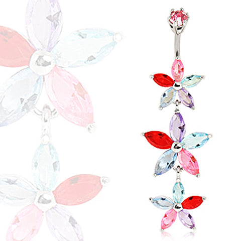 316L Surgical Steel Triple-Tiered Flower Navel Ring