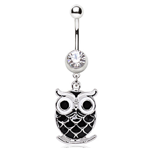 316L Surgical Steel Black Owl Navel Ring