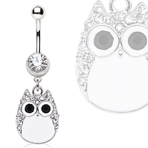316L Surgical Steel White Owl Navel Ring
