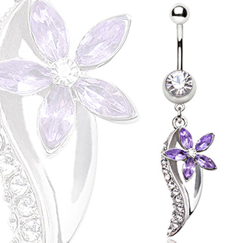 316L Surgical Steel Flower & Leaf Navel Ring