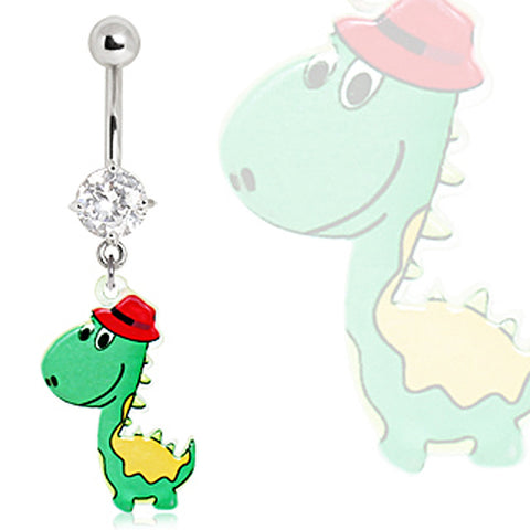 316L Surgical Steel Green Dinosaur with Fedora Navel Ring