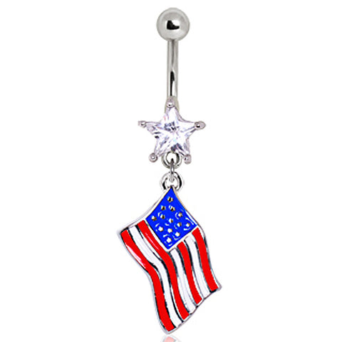 316L Surgical Steel USA Flag Navel Ring
