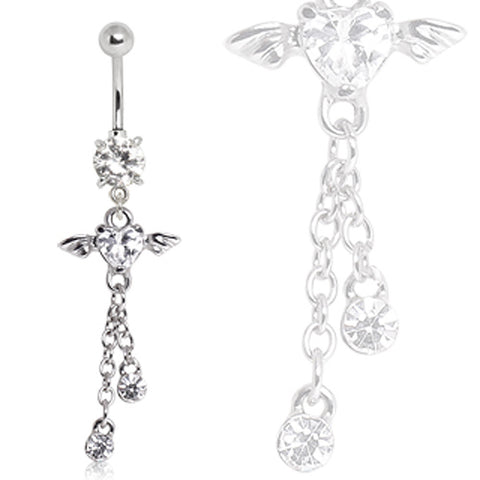 316L Surgical Steel Winged Heart Dangle Navel Ring