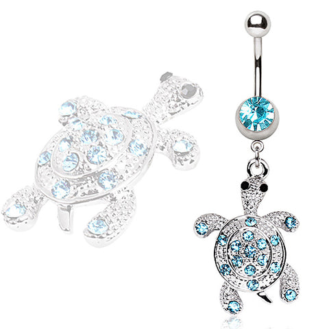 316L Surgical Steel Aqua Glass/Gem Turtle Navel Ring