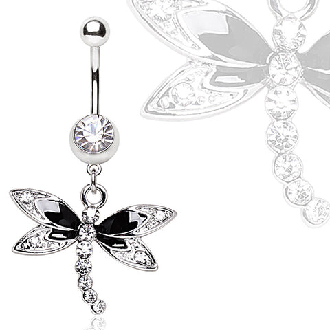 316L Steel Black Multi Glass/Gem Dragonfly Dangle Navel Ring