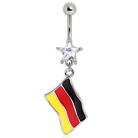 316L Surgical Steel Germany Flag Navel Ring