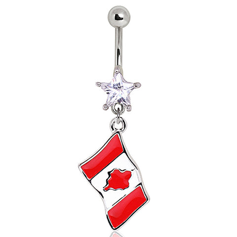 316L Surgical Steel Canada Flag Navel Ring