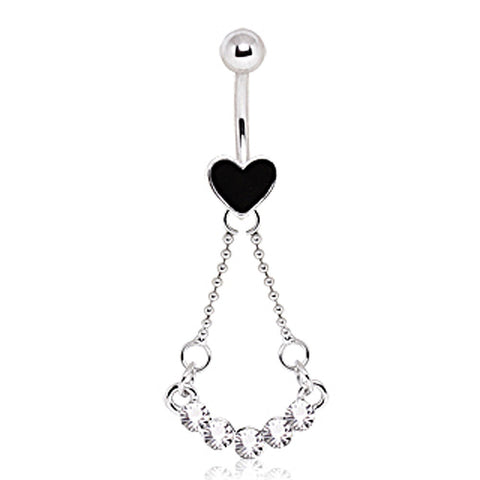 316L Surgical Steel Heart Navel Ring with Five Glass/Gems Swing Dangle