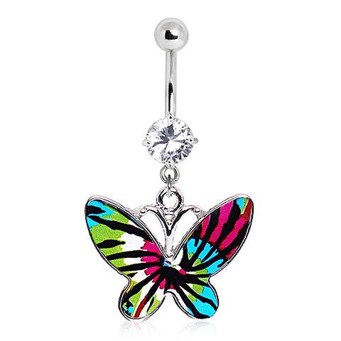 316L Blue Tie-Dye Butterfly Navel Ring