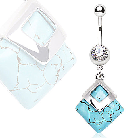 316L Surgical Navel Ring with Square Turquoise Dangle