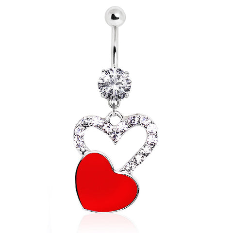 316L Falling Heart Dangle Navel Ring with CZ Glass/Gems