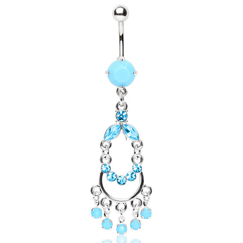 316L Surgical Turquoise Double Chandelier Dangle Belly Ring with Glass/Gems