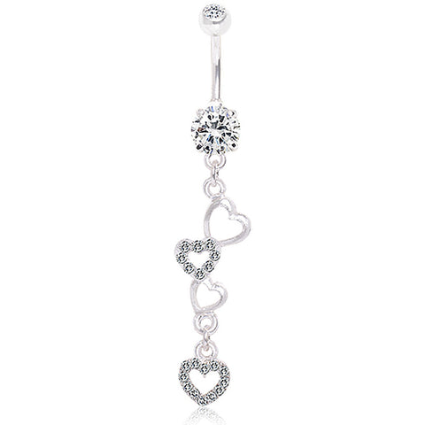 316L Surgical Steel Dangling Hearts Navel Ring
