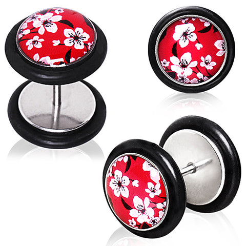 316L Red Cherry Blossom Fake Plug