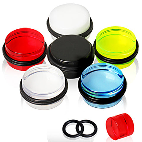 UV Coated Acrylic Plug with O-Rings - 0GA Red - Sold as a Pair