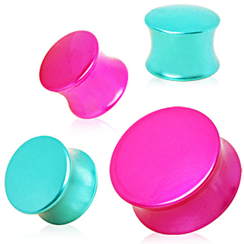 "Metallic Neon Color Plated UV Saddle Plug - 9/16"" Pink - Sold as a Pair"