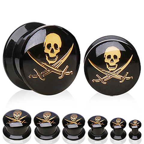 "UV Coated Acrylic Plug with Pirate Logo - 1/2"" Pirate 1 - Sold as a Pair"
