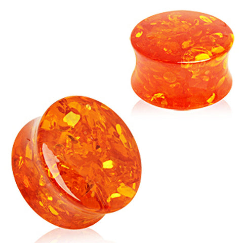 "Synthetic Amber Saddle Plug - 9/16"" - Sold as a Pair"
