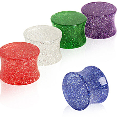 "UV Acrylic Metallic Glitter Saddle Plug - 1/2"" Clear - Sold as a Pair"