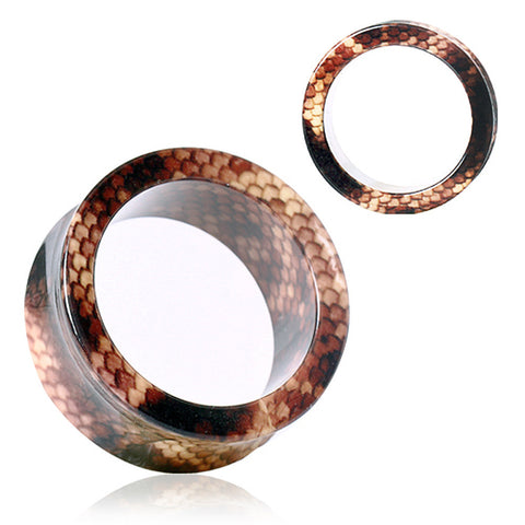 UV Acrylic Brown Snake Skin Flesh Tunnel - 2GA - Sold as a Pair