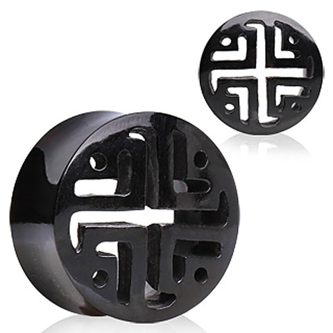 "Buffalo Horn Flesh Tunnel Ear Plug  with Latticework Pattern - 1"" - Sold as a Pair"