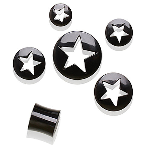 "Buffalo Horn Tunnel Plug with Star Shape Cutting - 1"" - Sold as a Pair"