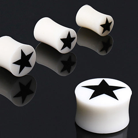 White Bone Solid Plug with Star Logo - 0GA - Sold as a Pair