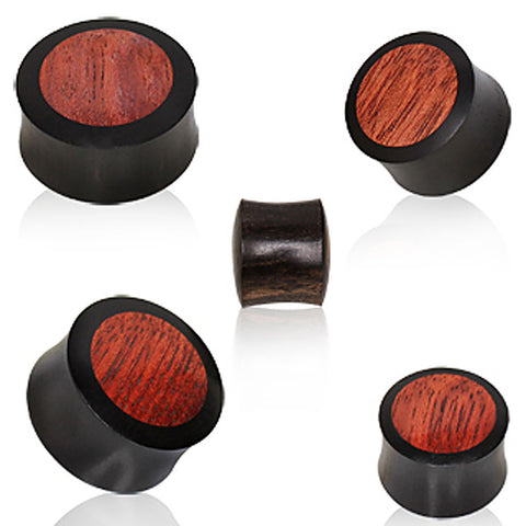 "Areng wood Soild Plug with Blood Wood Inlay - 1/2"" - Sold as a Pair"