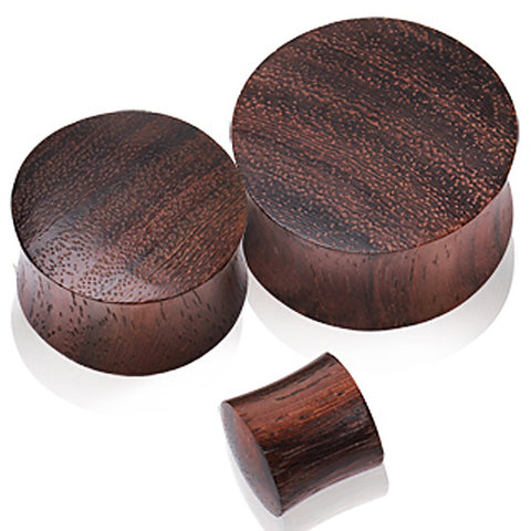 "Brown Sono Wood Saddle Plug - 1/2"" - Sold as a Pair"