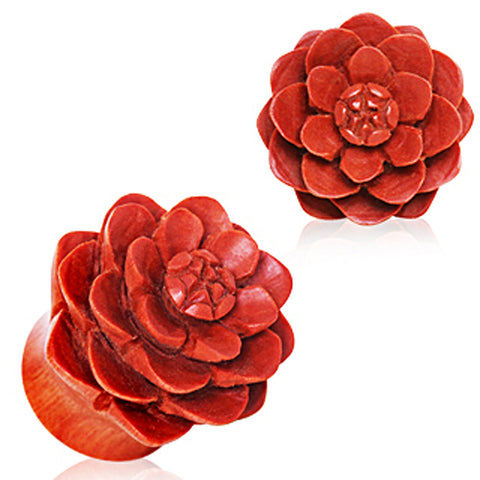 Organic Sawo Wood Lotus Blossom Saddle Plug - 2GA - Sold as a Pair