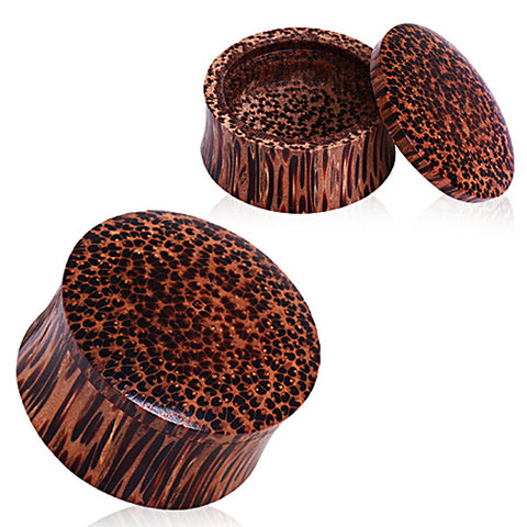 "Organic Coconut Wood Stash Saddle Plug - 1/2"" - Sold as a Pair"