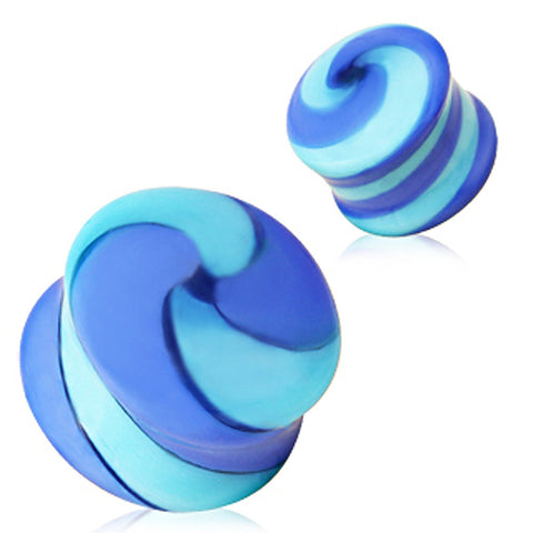 Swirl Pyrex Glass Saddle Plug - 4GA Blue - Sold as a Pair