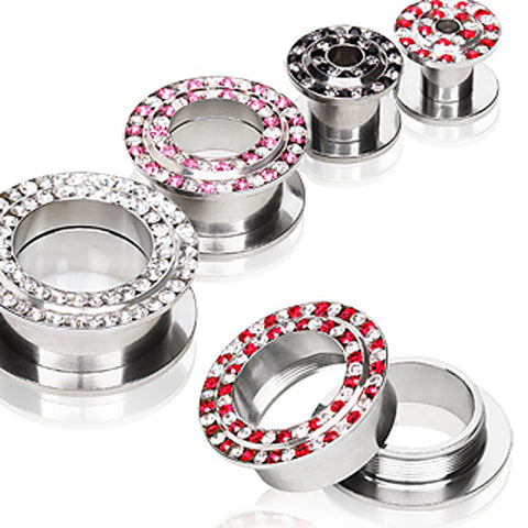 "316L Surgical Steel Tunnel Plug with Two Tone multi Glass/Gems - 5/8"" Clear/Red - Sold as a Pair"