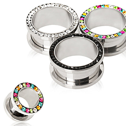 316L Surgical Steel Multi CZ Screw Fit Tunnel Plug - 00GA Rainbow - Sold as a Pair