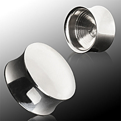 316L Surigcal Steel Convex Hollow Saddle Plug - 2GA - Sold as a Pair